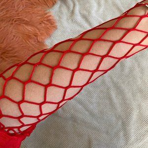 NWOT Red Fish Net Tights - Free with purchase!
